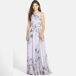Eliza J Chiffon Halter Maxi Dress   - Purple